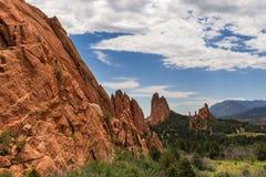 Formação de rocha bonita do arenito vermelho no parque estadual de Roxborough em Colorado, perto de Denver imagens de stock