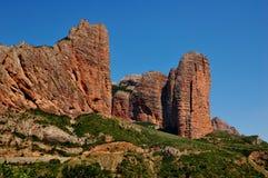Formação de rocha de Mallos Riglos imagens de stock royalty free