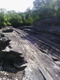 Formação de rocha original da ilha de Kelleys fotografia de stock