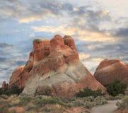 Formação do Sandstone, parque nacional dos arcos, por do sol Fotos de Stock