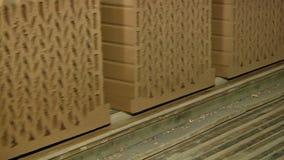 Formação e fabricação da fábrica cerâmica do tijolo video estoque