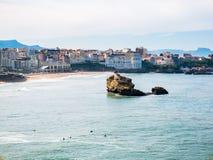 Formação e praia de rocha em Biarritz, país Basque Foto de Stock