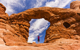 Formações cênicos do arenito de arcos parque nacional, Utá, EUA Imagem de Stock