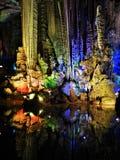 Formações de rocha coloridas na caverna de prata de Yangshuo foto de stock royalty free