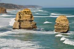 Formações de rocha corrmoídas nos doze apóstolos Imagem de Stock Royalty Free
