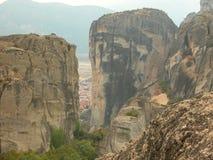 Formações de rocha do conglomerado, Meteora, Kalabaka, Grécia Fotografia de Stock