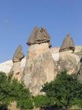 Formações de rocha feericamente da chaminé em Cappadocia, Turquia Fotos de Stock Royalty Free