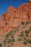 Formações e vale da montanha do arenito vermelho no meio do dia, no Arizona no U S A sudoeste, na luz natural foto de stock royalty free