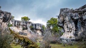 Formações irreais Karstic com furos em Cuenca Imagens de Stock Royalty Free