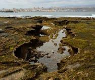 Formações singulares na costa Foto de Stock Royalty Free