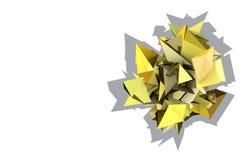 forma 3d elétrica cravada amarela abstrata Fotos de Stock Royalty Free