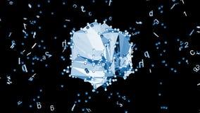 Forma abstracta azul con la sopa del alfabeto, cantidad común libre illustration