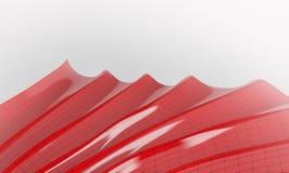 Forma abstracta roja con los puntos y las líneas de conexión en el fondo blanco 3d rinden Imagenes de archivo
