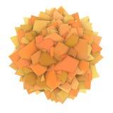 forma abstrata do amarelo 3d alaranjado no branco Foto de Stock Royalty Free