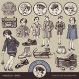Forma, acessórios e brinquedos das crianças ilustração royalty free