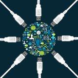 Forma ajustada do ícone social cercada pelo USB Foto de Stock Royalty Free