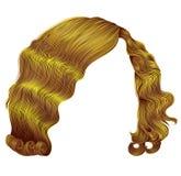 forma amarela brilhante da beleza da cor do kare na moda dos cabelos da mulher ondas retros do estilo 3d realístico Foto de Stock