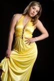 Forma amarela do vestido foto de stock