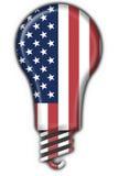 Forma americana da lâmpada da bandeira da tecla dos EUA Fotos de Stock
