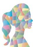 Forma astratta della donna del poligono di colore Fotografia Stock