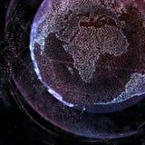 Forma astratta della sfera della comunicazione globale d'ardore Visualizzazione del collegamento di rete globale Globo futuristic Immagini Stock Libere da Diritti