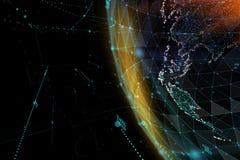 Forma astratta della sfera della comunicazione globale d'ardore Visualizzazione del collegamento di rete globale Globo futuristic Immagine Stock