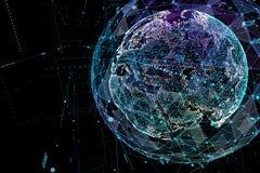 Forma astratta della sfera della comunicazione globale d'ardore Visualizzazione del collegamento di rete globale Globo futuristic Fotografia Stock Libera da Diritti
