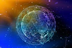 Forma astratta della sfera della comunicazione globale d'ardore Visualizzazione del collegamento di rete globale Globo futuristic Immagini Stock