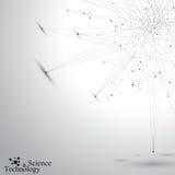Forma astratta geometrica con le linee ed i punti collegati Fondo grigio di Tecnology per la vostra progettazione Illustrazione d illustrazione di stock