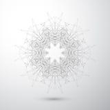 Forma astratta geometrica con le linee ed i punti collegati Fondo grigio di Tecnology per la vostra progettazione Illustrazione d Immagini Stock Libere da Diritti