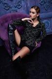 Forma atractiva hermosa del cuerpo de la muchacha del vestido de la colección de la ropa de la mujer Imagenes de archivo