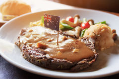 Forma Australia de la importación del filete de carne de vaca del VIP del desayuno fotografía de archivo libre de regalías
