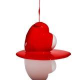 Forma bianca del cuore con pittura rossa scorrente Immagine Stock Libera da Diritti