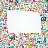 Forma blanca EPS10 de la burbuja del discurso de los medios iconos sociales Foto de archivo