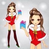 Forma bonita Santa Girls Holding Gift Ilustração do Vetor