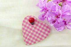 Forma bonito do coração com flores cor-de-rosa Fotografia de Stock