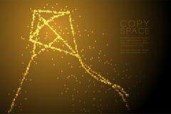 Forma brilhante abstrata de Diamond Kite do teste padrão de estrela, ilustração de cor do ouro do projeto de conceito da liberdad ilustração royalty free