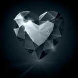 Forma brilhante preta do coração do diamante no preto Imagem de Stock Royalty Free