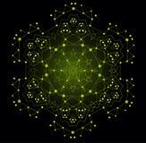 Forma brillante colorida del vector, estructura molecular con las líneas y Foto de archivo libre de regalías