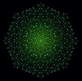 Forma brillante colorida del vector, estructura molecular con las líneas y Fotos de archivo