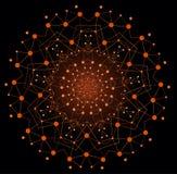 Forma brillante colorida del vector, estructura molecular con las líneas y Imágenes de archivo libres de regalías