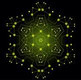 Forma brillante colorida del vector, estructura molecular con las líneas y Imagenes de archivo