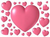 Forma brillante lucida rosa del cuore isolata su fondo bianco, illustrazione 3D Immagine Stock Libera da Diritti