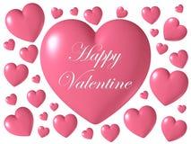 Forma brillante lucida rosa del cuore isolata su fondo bianco, illustrazione 3D Fotografie Stock Libere da Diritti