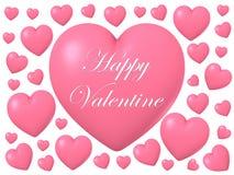 Forma brillante lucida rosa del cuore isolata su fondo bianco, illustrazione 3D Fotografia Stock Libera da Diritti