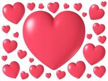 Forma brillante lucida rossa del cuore isolata su fondo bianco, illustrazione 3D Fotografie Stock Libere da Diritti