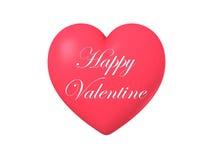 Forma brillante lucida rossa del cuore isolata su fondo bianco, illustrazione 3D Fotografie Stock