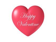 Forma brillante lucida rossa del cuore isolata su fondo bianco, illustrazione 3D Fotografia Stock Libera da Diritti