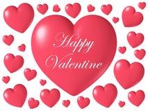 Forma brillante lucida rossa del cuore isolata su fondo bianco, illustrazione 3D Immagine Stock Libera da Diritti