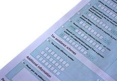 Forma BRITÁNICA de la declaración de impuestos Imagen de archivo libre de regalías